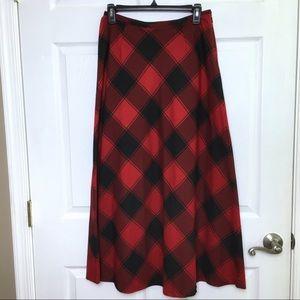 LIZ CLAIBORNE Red Black Buffalo Plaid ALine Skirt